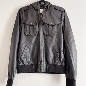 SILENCE + NOISE FAUX LEATHER HOODED JACKET